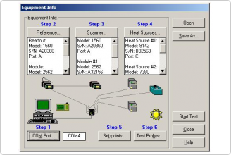 Equipment Info dialog showing instrument configuration